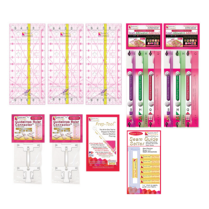 Guidelines4Quilting GL-FSQ-3 product image with guidelines ruler, guidelines ruller connectors, seam allowance additions, prep tool, and easy seam guide
