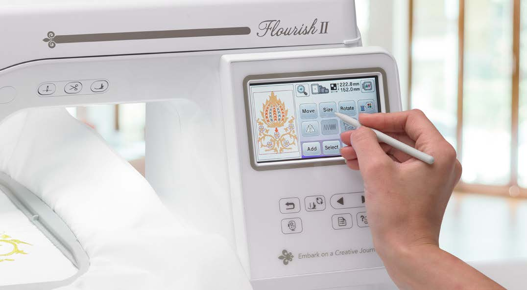 On screen embroidery editing with the Baby Lock Flourish 2